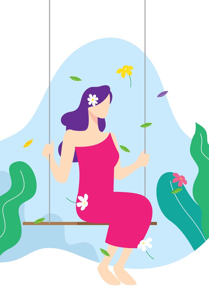 bogini na huśtawce ilustracja